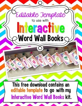 Editable Template to go with Interactive Word Wall Books