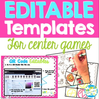 Editable Templates for center games (Spinners, QR Frames, Clip Cards, Dice)
