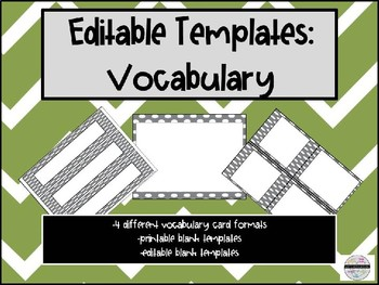 Editable Vocabulary Templates