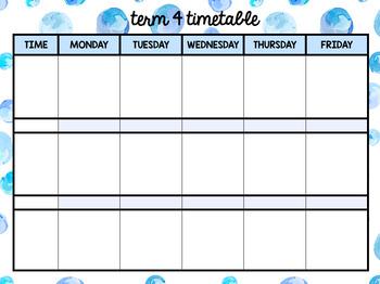 Editable Term Timetable / Daily Planner