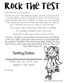 Editable Testing Parent Letter- Write a Note of Encouragement