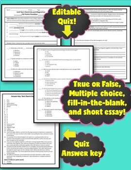 Editable Tests: Electricity and Magnetism (answer key and reflection activity)