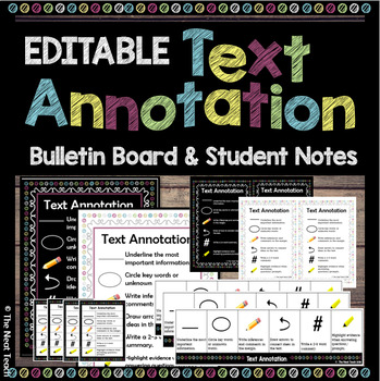 Editable Text Annotation Posters & Student Notes