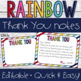 Rainbow Thank You Notes {Editable}