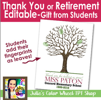 Editable Thank You! Perfect for Retirement, Students print their fingerprints