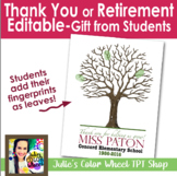 Editable Thank You, Retirement, Student Teacher, From Students Craft Gift