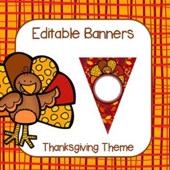 Editable Thanksgiving Banners