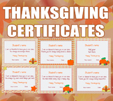 Editable Thanksgiving Certificates for Students