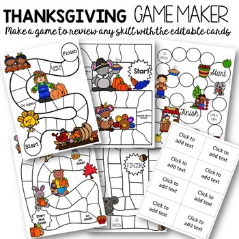 Editable Thanksgiving Games