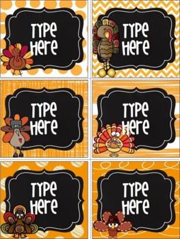 Editable Labels-Chalkboard Thanksgiving Labels