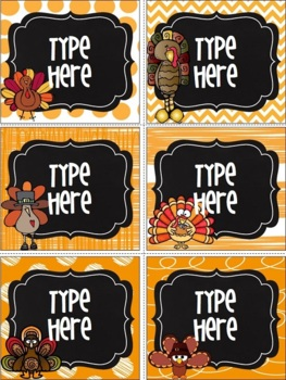 Editable Chalkboard Thanksgiving Labels