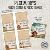 Editable Thanksgiving Pilgrim Days Place Cards - Desk top tags