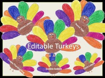 Editable Thanksgiving Turkey Labels