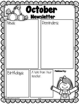 Class Newsletter Template: Editable & Includes 12 Monthly Themes