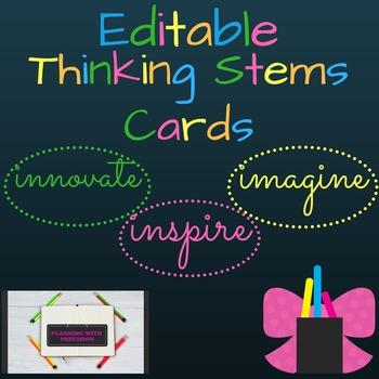 Editable Thinking Stems Cards