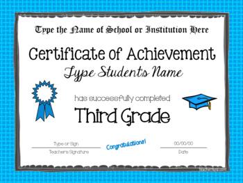 Editable Third Grade Certificates for Graduation - Bright Borders