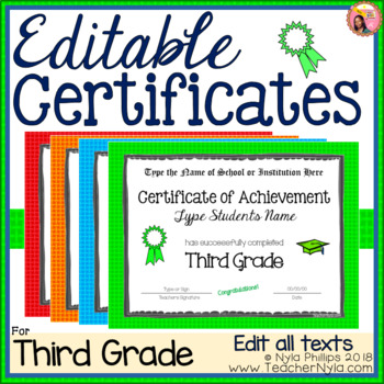 Editable Third Grade Certificates for Graduation - Bright Borders