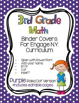 Editable THIRD Grade Math Engage New York Binder Covers - Purple Dots