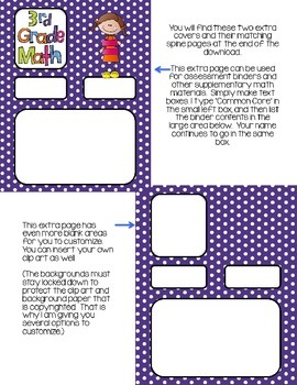 Editable THIRD Grade Math Engage New York Binder Covers - Purple Dots