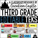 Editable Third Grade TEKS - Standards Statements with Visual Support