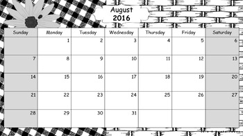 Editable Three Calendars Set: August 2016 – July 2017