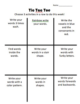 Editable Tic Tac Toe Spelling Homework in Spanish and English