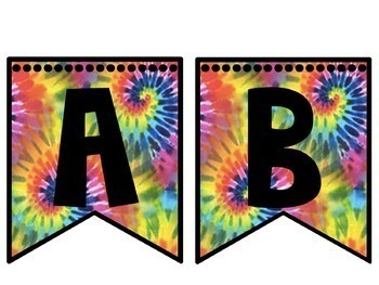 Editable Tie Dye Classroom Decor Flags, Circles, Squares, Rectangles, and Labels