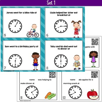 Editable Time to the 5 Minute Interval Task Cards & Game- Add Names Easily