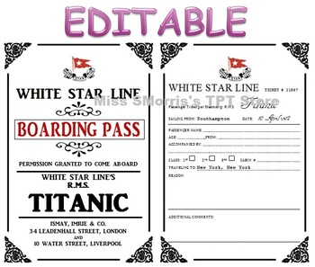 editable titanic passenger tickets by sheena morris tpt