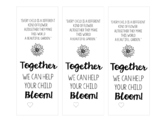 "Editable Parent Flower Tag ""Together we can help your child bloom!"""