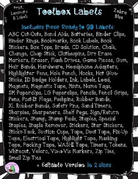 Editable Toolbox Labels in Zebra Blue