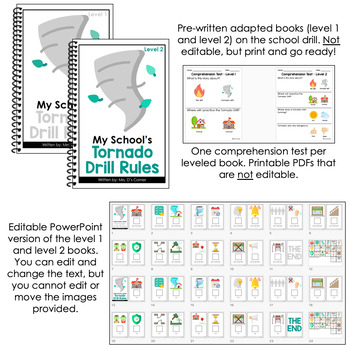 Editable Tornado Drill Adapted Books [ Level 1 and Level 2 ] | School Drills