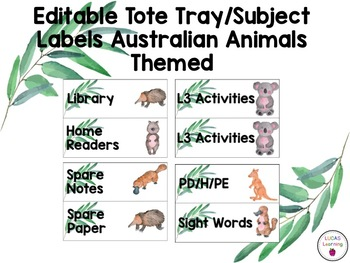 Editable Tote Tray/Subject Labels Australian Animals Theme