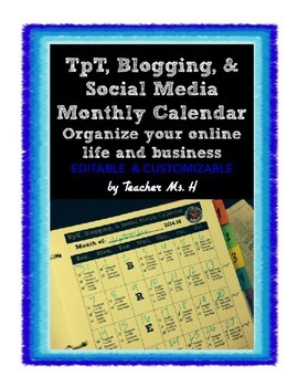 TpT, Blog, & Social Media Calendar Editable FREEBIE