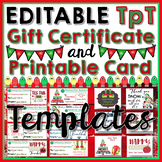 Editable TpT Gift Certificate and Printable Card Templates