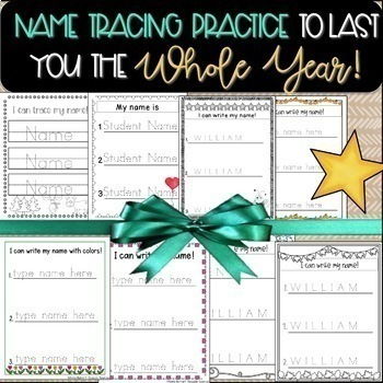 A Whole Year of Editable Name Tracing Practice