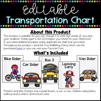 Editable Transportation Chart ~ School Themed
