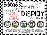 Editable Transportation Display--Black and White Patterns