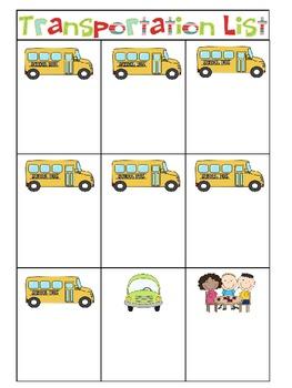 Editable Transportation List Freebie