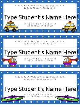 Editable Transportation Themed D'Nealian Desk Plates w/Alphabet and Numbers!