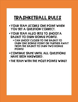 Editable Trashketball Review Game Organizers