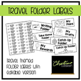 Editable Travel Theme Folder Labels