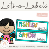 Editable Tray Labels, Classroom Labels & Name Tags Bundle {Rainbow Theme}