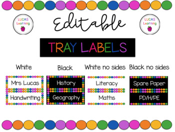 Editable Tote Tray/Subject Labels RAINBOW THEME
