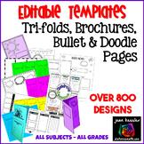 Editable Tri-Fold Templates plus Bonus Doodle Notes Templates