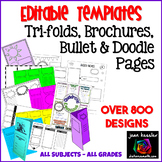 Editable Tri-Fold, Doodle Pages, Bullet Notes, and Graphic Organizer Templates