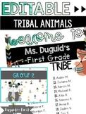Editable Tribal Animal Class List Poster & Group Names