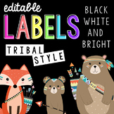 Editable Tribal Themed Labels Black White and Bright