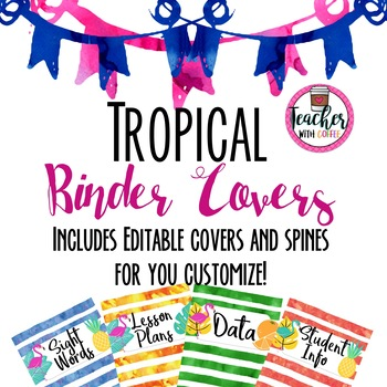 Editable Tropical Binder Covers