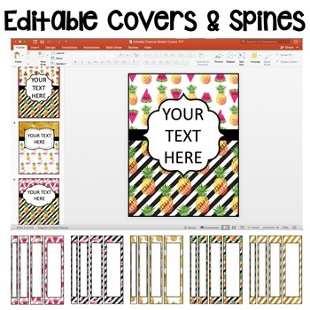 Editable Tropical Binder Covers and Spines!